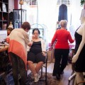 Ricchina is styled by friends at a neighborhood salon on south Philadelphia.
