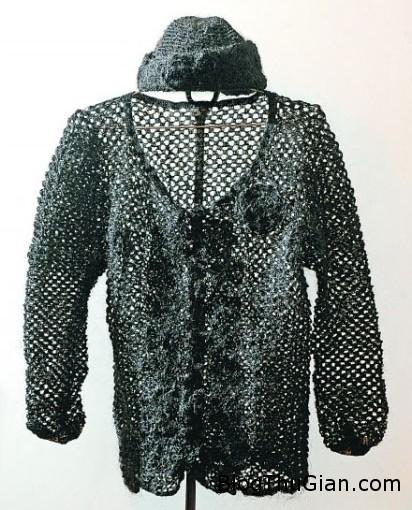 hair sweater2 9231 1390975994 Dùng tóc rụng đan mũ và áo