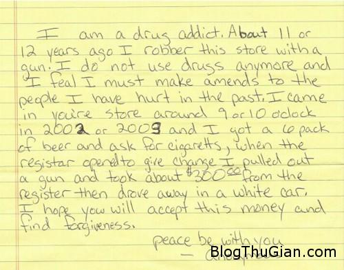 thief 8469 1378867059 Trộm quay lại trả tiền và viết thư xin lỗi sau 12 năm