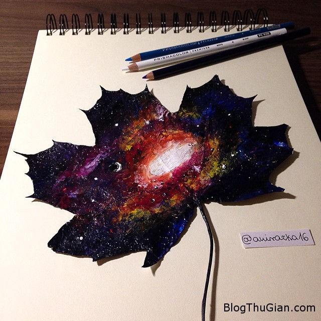 1 Cô bé vẽ tranh phong cảnh tuyệt đẹp trên lá