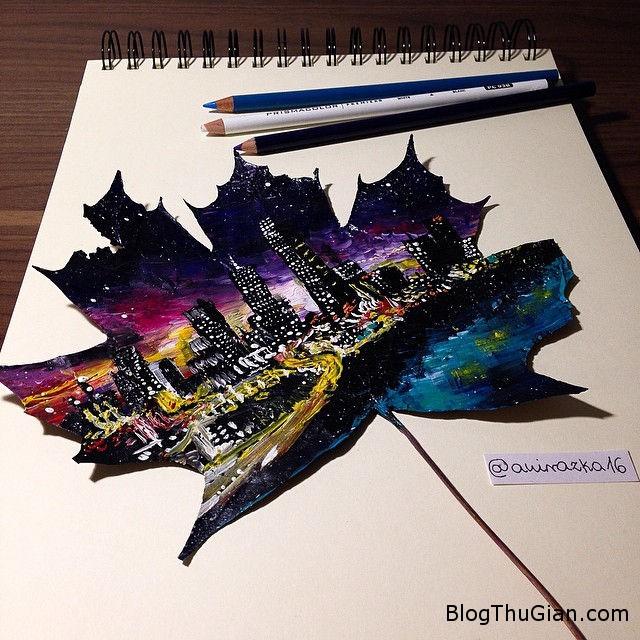 4 Cô bé vẽ tranh phong cảnh tuyệt đẹp trên lá